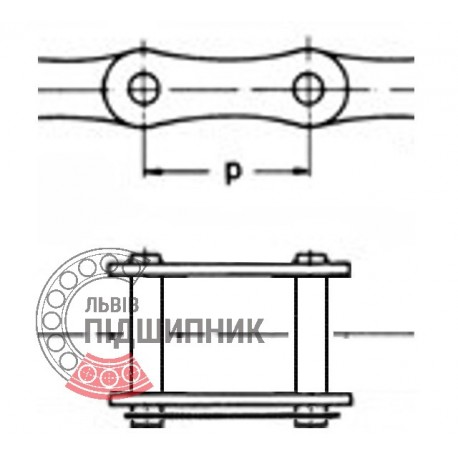 08В-1 Roller chain connecting link (t-12.7) [CPR]